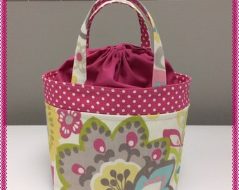 Lunch Bag, Small Tote, Pink Flowers and Polka Dots