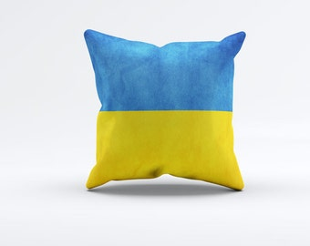 Flag of Ukraine Throw Pillow Cover 15 x 15 inch