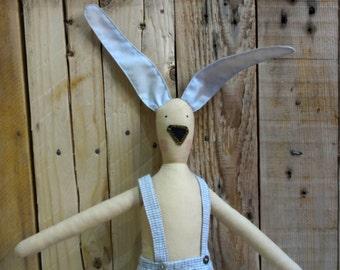 Stuffed Rabbit Doll / Child Friendly Bunny Toy / Soft Handmade Rag Doll Plush Bunny / Nursery Decor / Anniversary Boys Girls Gift Toys