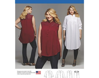 Simplicity Sewing Pattern 8140 Plus Size Shirt with Length and Sleeve Variations
