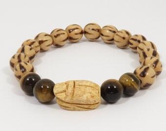Carved Scarab Bracelet, Scarab Beetle Bracelet, Burnt Wood Bracelet, Egyptian Bracelet, Mens Bracelet