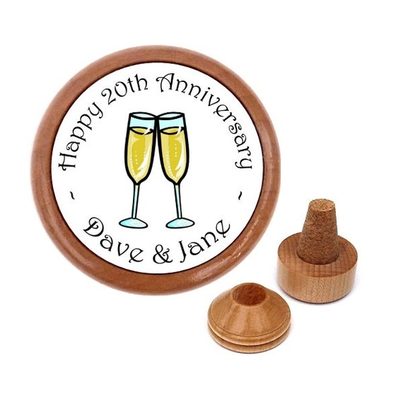 20th Wedding Anniversary Gift Ideas For Him: Personalized 20th Anniversary Gift Bottle By WineStopperStore