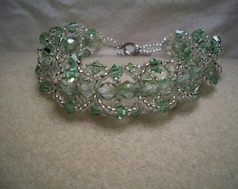 Light Green Beaded Flat Spiral Bracelet-7.5 in.