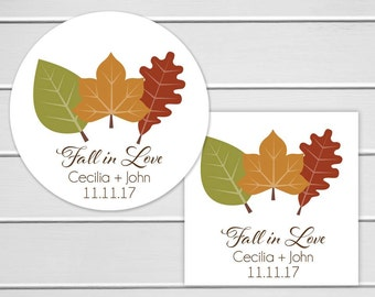 Fall In Love Wedding Sticker, Autumn Themed Wedding Favor Stickers (#042)