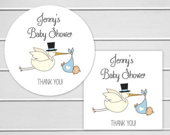 Baby Shower Stickers, Baby Boy Shower Stickers, Baby Shower Thank You Stickers  (#032-B)