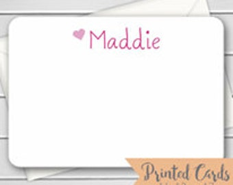 Name Note Cards with Envelopes - 12pk, Personalized Flat Note Cards with Envelopes (GC-1)