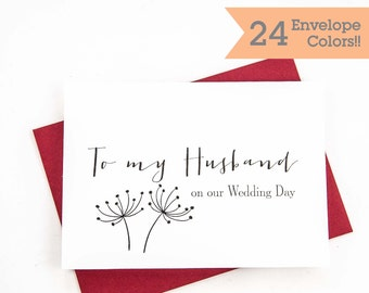 Card for Husband, To My Husband Card, Husband on Wedding Day Card, Wedding Day Cards (WC004-HW)
