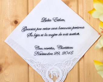 Personalized wedding handkerchief. Embroidered handkerchief! spanish handkerchief! Monogrammed corner! rehearsal dinner gift, Navy Blue Text