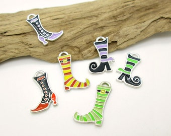 Witches Boot Charm, Halloween Shoe Charm, Enamel Boot Charm, Witch Charm Assorted Colors 20x13mm (1 pair)