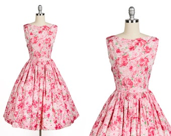 Vintage 1950s dress // 50s rose print dress // 50s party dress