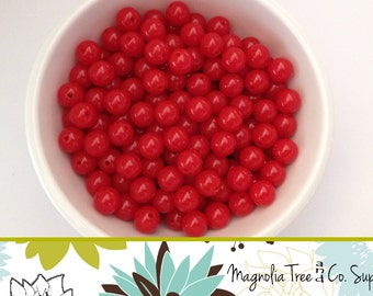 RED beads, 8mm, Solid Resin Beads, Resin Beads, Acrylic Beads, Christmas Red, Valentines, Bubblegum Beads, Gumball Beads, 50 pcs (BSBL-306)
