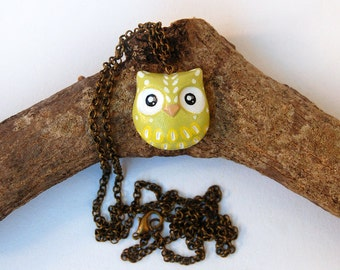 Owl necklace | Lime and lemon | Etnic style | Handmade