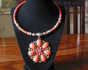 Beautiful Vintage Salmon Colored Bead Necklace With Metal Pendant Accented In Rhinestones