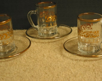 Beautiful Vintage European Gold Gilded Small Glass Coffee Cups And Saucers Set of Three