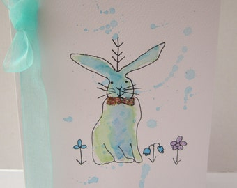 Rabbit, watercolour card, bunny rabbit card, rabbit card, birthday card, Easter card, can be personalised, hand painted card, handmade card