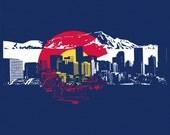 Women's Colorado Flag w/ Denver Skyline Silhouette