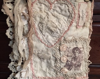 Beautiful Fabric Collage Vintage/Shabby Chic Completly Handmade