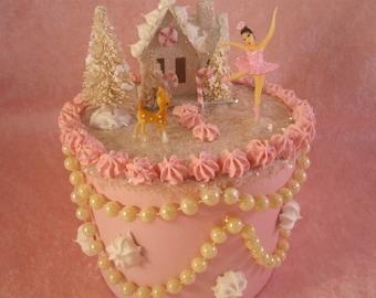 Pink Christmas Fake Cake Trinket Box