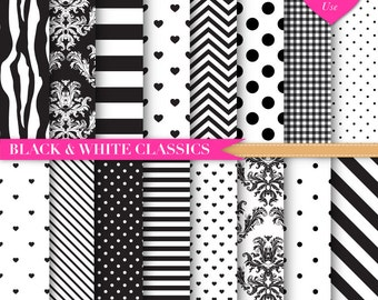 Black and White Digital Paper | Chevron | Zebra Print Digital Paper | Black Stripes | Black and White Polka Dots Digital Paper