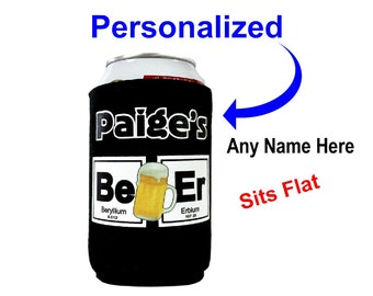 Periodic Chart Draft Beer [Be] [Er] Can Cooler Personalized - Add ANY name FREE, Black Neoprene (wetsuit material)