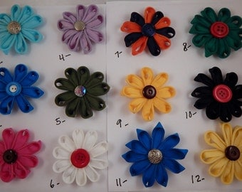Zipper Flowers Hairbows 3 bar Clip Style Pick Any 4 for 5 dollars Sale