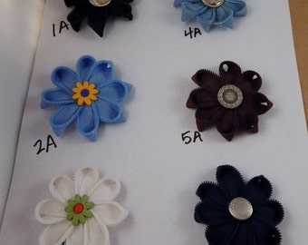 Zipper Flowers Barrettes Hairbows Clip 6 for 5 dollars Sale