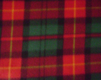 Red & Green Plaid Fleece Fabric (1 yard 10 inches)