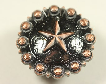 Fancy Western Style Star Knob - Antique Copper