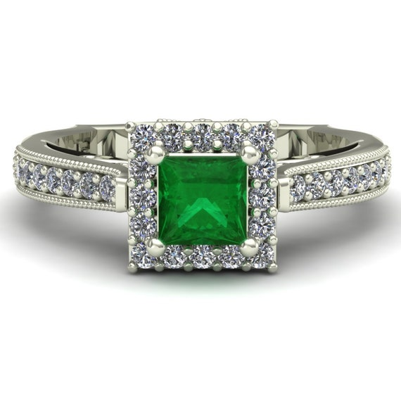emerald engagement ring princess cut by charlesbabbdesigns