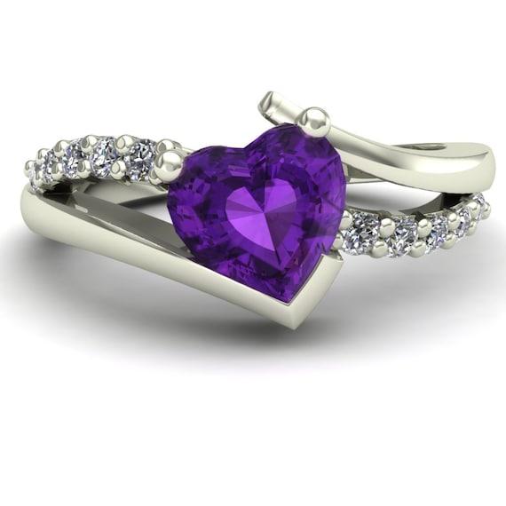 amethyst ring purple heart diamonds by charlesbabbdesigns. Black Bedroom Furniture Sets. Home Design Ideas