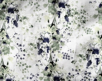 1.00 OFF - Delicate Blue & Green Wildflowers on Cotton/Poly Blend