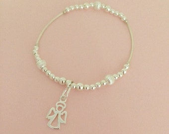 Sterling Silver Beads Stacking Bracelet with Angel Charm on Stretch Elastic