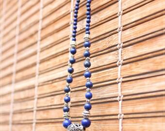 Lapis lazuli necklace and Tibetan silver