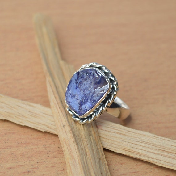 Rough Row Tanzanite Ring, Violet Blue Ring, Semi Precious Gemstone Ring, Bezel Ring, Solid 925 Sterling Silver Jewelry, Gift Ring Size 6