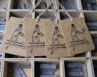 Letterpress tennis gift tags printed on Kraft card pack of 4