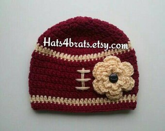 Girls 49ers Hat, San Francisco 49ers Hat, Crochet Football Hat, Baby Football Hat, Newborn Hat Photo Prop, Infant Photo Prop