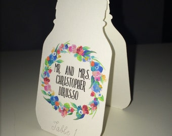 CUSTOM WEDDING PLACECARDS - Mason Jar Floral Printed Placecards