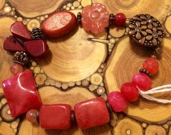 Multi stone bracelet boho and whimsical