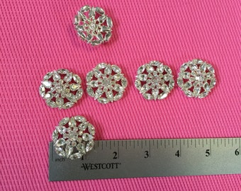 6 Vintage Czech Glass Buttons Crystal Clear Silver Metal Shank.Made in Czech Republic.Vintage Buttons,Crystal Buttons,Glass Buttons,Buttons