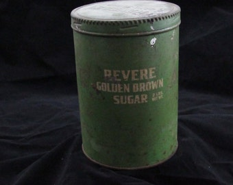 Revere golden brown sugar can vintage