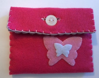 Handmade dark pink butterfly purse