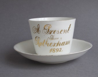 Antique Victorian teacup, tea for one gift idea, 'A present from Rotherham, 1892', handmade bone china, historic gift wares near Sheffield