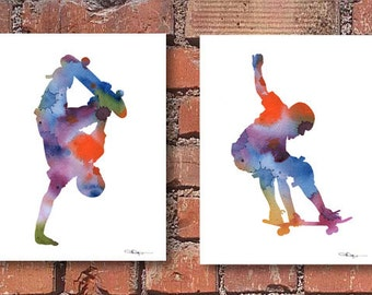 Set of 2 Skateboarding Art Prints - Watercolor Painting - Wall Decor