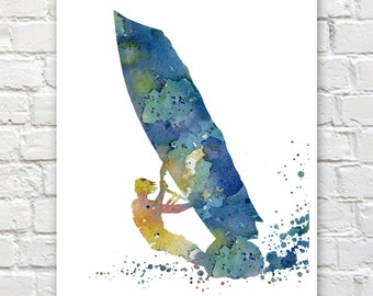 Blue Windsurfer Art Print - Abstract Watercolor Painting - Wall Decor