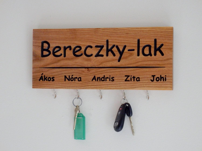 Carved Family Name Key Holder