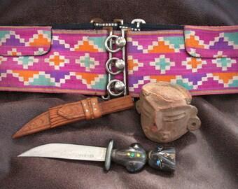 South of The Border Vintage Mix, Lot Of Three Souvenirs, Artisan Knife, Folk Art Pottery, Colorful Belt