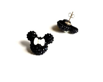 Minnie Mouse Shimmer Studded Earrings - Spiked Black