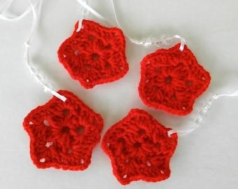 Star Ornaments - Red Crochet Stars -Crochet Star Ornaments - Red Star Ornaments - Set of 4 - Christmas Home Decor
