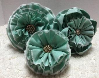 Lot of 3 Handmade Vintage Taffeta Flowers