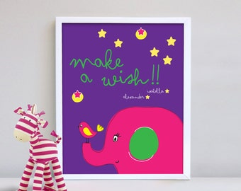 Personalized print kids newborn wall decor wall print home decor nursery poster Make a wish happines happy
